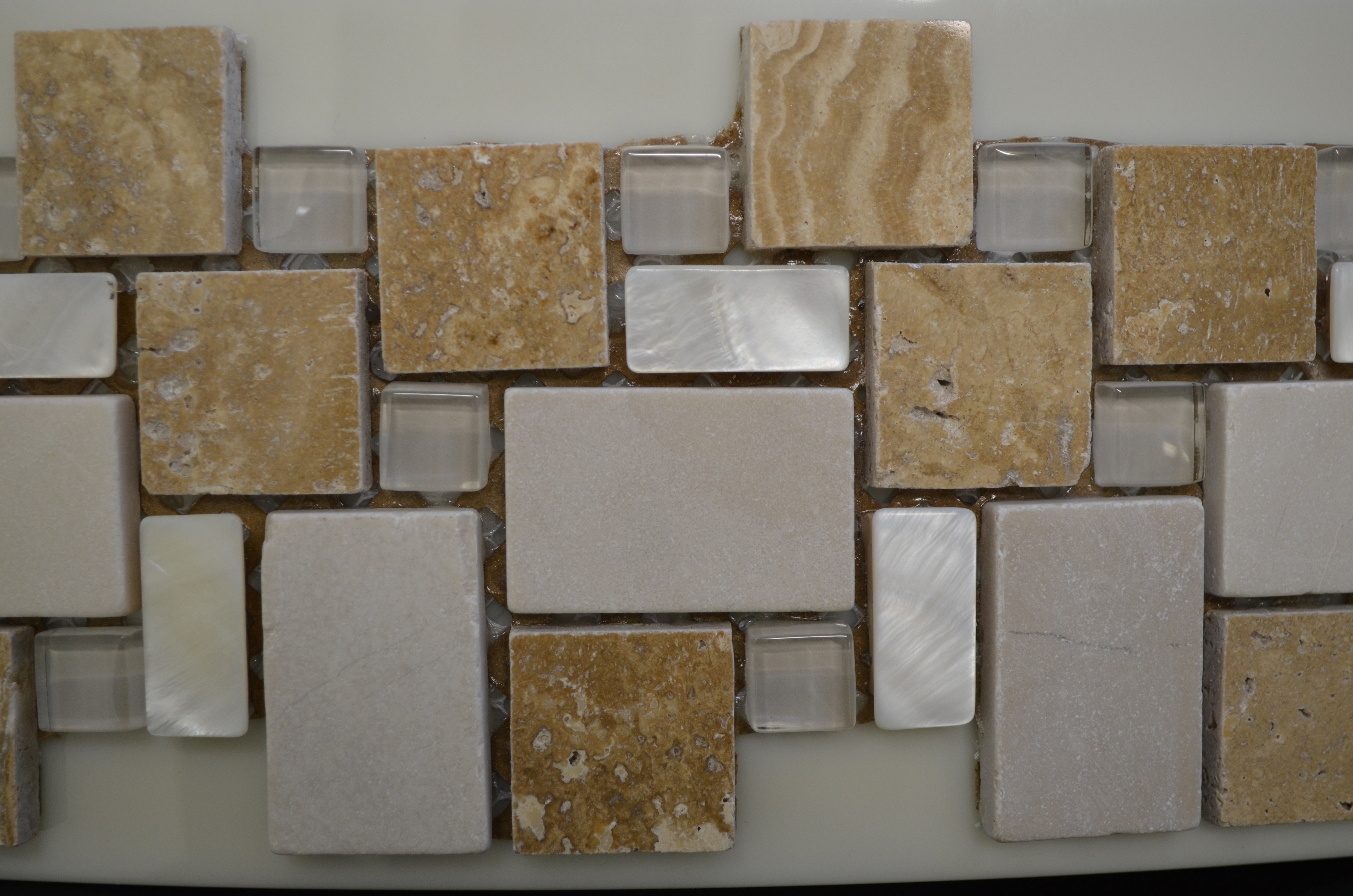 Honolulu Natural Stone and Clear Glass Squared Mosaic 300mm x 300mm