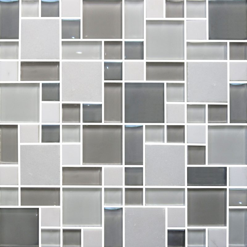 Mottistone Grey Modular Tile: Moscow Grey Modular Patterned Mosaic 300mm X 300mm