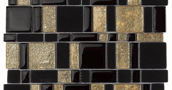 Cleopatra Mosaic By Dune Black Amp Gold Glossy Glass