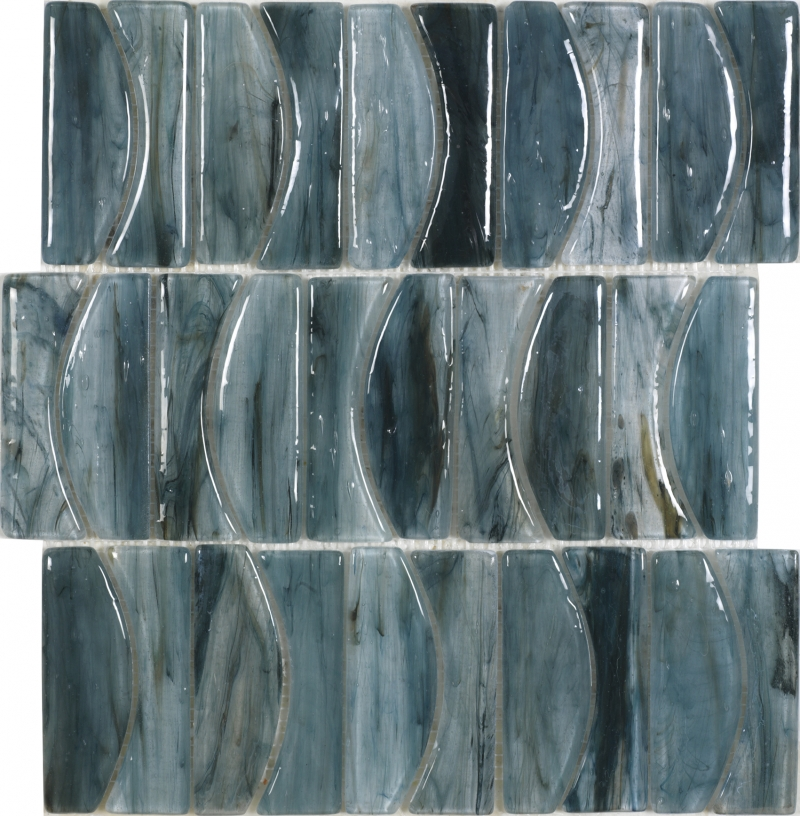 Blues Mosaic By Dune Elegant Blue Glossy Glass Mosaic Tile
