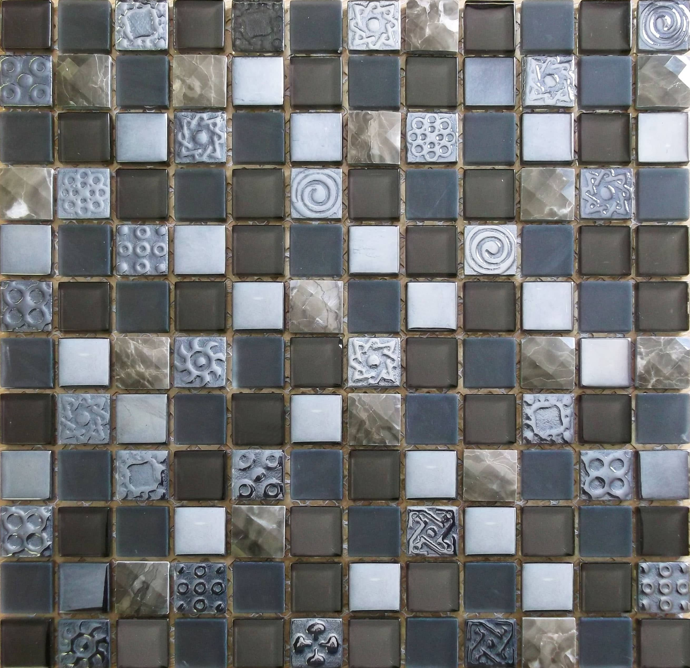 Natural Travertine Mosaic Tile L 300mm W 300mm: Mixed Colour Natural Stone & Glass Mosaic Tile