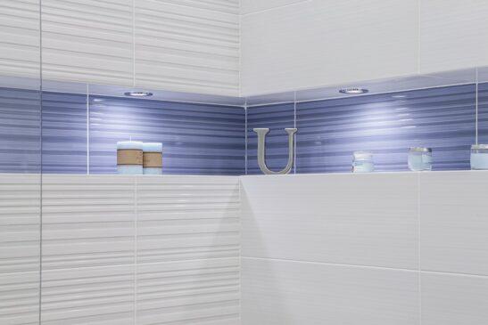 Makeup Decor Celeste Deep Ridged Contemporary Ceramic Tile