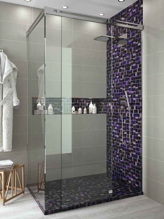Prisma purple shaded mosaic by dekostock 298mm x 298mm for Mosaicos banos modernos