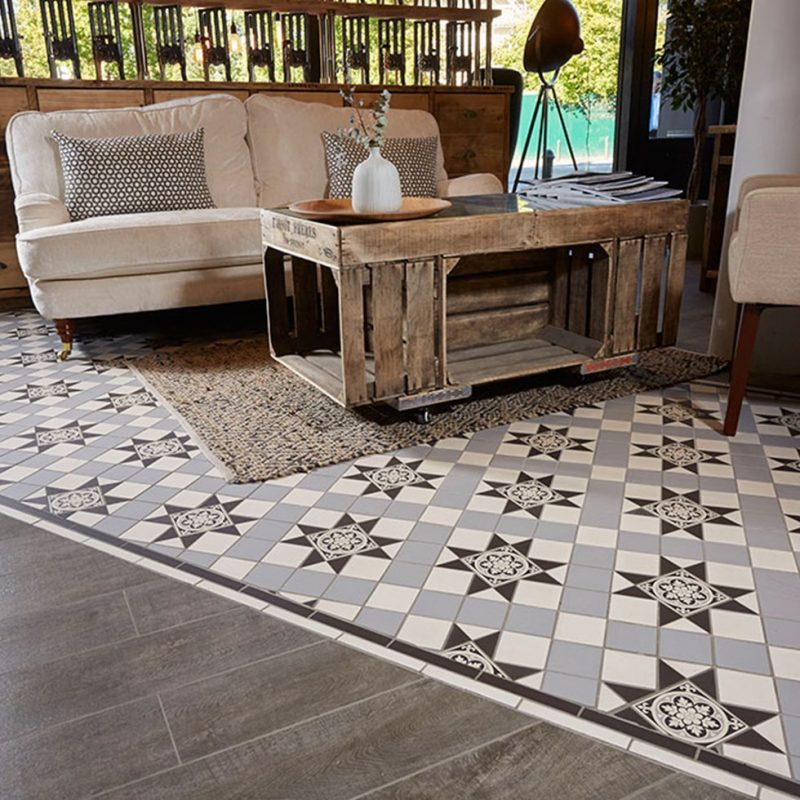Victorian Kitchen Floor: A Black, Grey & White Victorian-Inspired