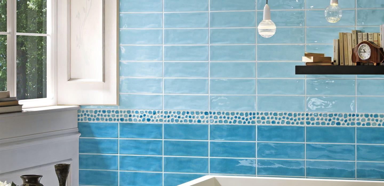 Kesha Turchese Fresh Invigorating Blue Porcelain Tile 75mm x 150mm