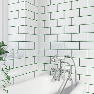 White metro tiles with green grout
