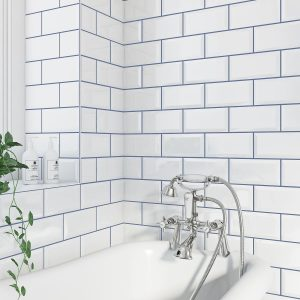white metro tiles with blue grout