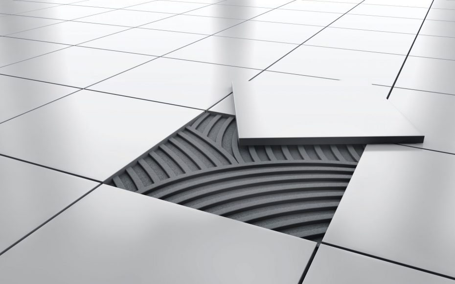 Floor tiles with adhesive